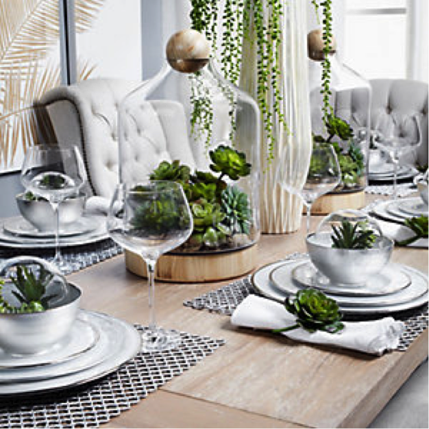 Traditionally December seems to be the color of all things red and green. But I would like to introduce silver into your décor as you change your fall colors out. It is a color that works well with most other colors – it illuminates and reflects of those colors which surround it. Here are some of my favorite things in Silver to inspire you...