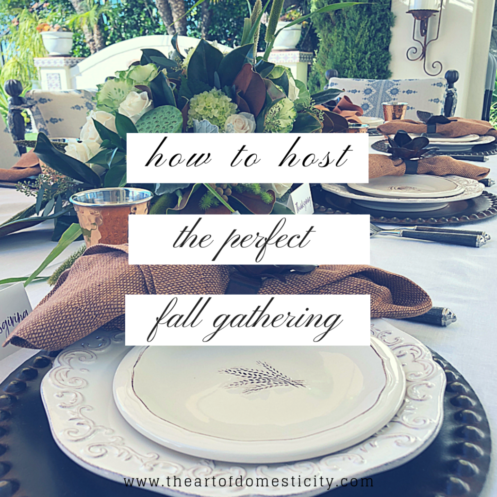 Although stirrings of fall weather are upon us, some evenings are still warm enough to dine outdoors. Its the perfect time to host a fall gathering with a little help from friends. When you get everyone together to help, it makes sitting down to eat that much more special because you all worked together! Here is how a group can put their heads together to pull off a perfect fall gathering...