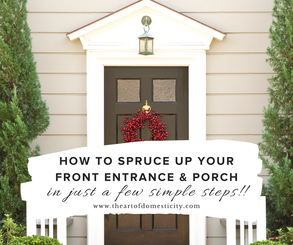 Does your home entrance need a makeover? Front entrances to your home should be designed the way you would design your living room—consider incorporating a rich mix of materials within the space. Here are my tips for sprucing up your front entrance or porch in just a few simple steps!